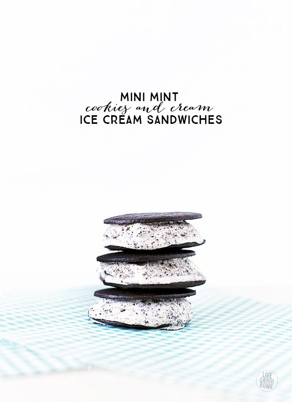 Skinny Mini Mint Cookies and Cream Ice Cream Sandwiches for the win! Weight Watchers friendly too with only 2 pts per sandwich. livelaughrowe.com