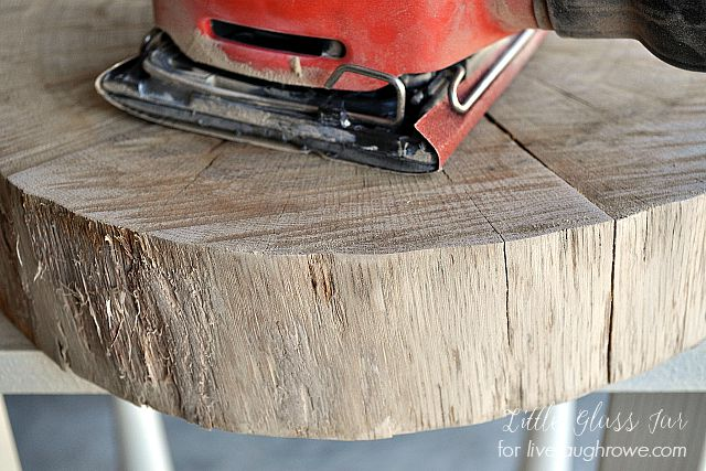 Sanding wood slab
