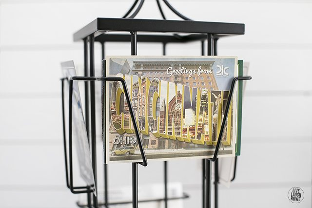 This photo carousel is a favorite piece of mine, housing post cards from years of travel. www.livelaughrowe.com