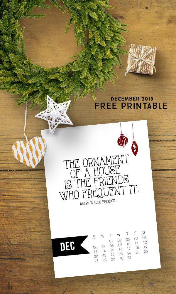 Free 5x7 December 2015 Calendar Printable with inspirational quote! www.livelaughrowe.com