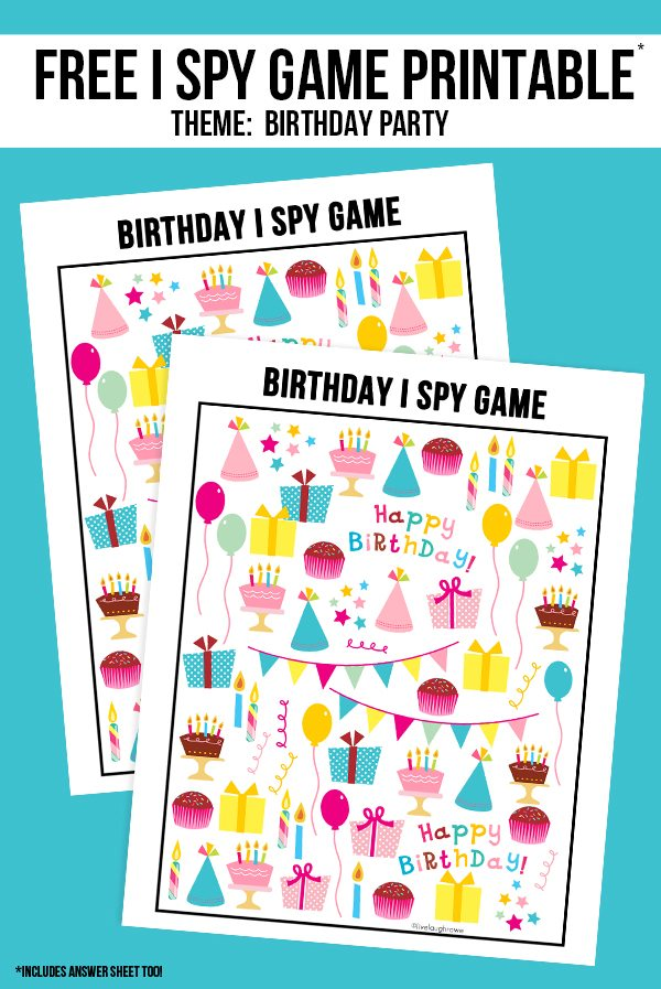 The perfect way to entertain the kids at your next birthday party! This Birthday I Spy Printable comes with an answer sheet and answer key too! Print yours at livelaughrowe.com