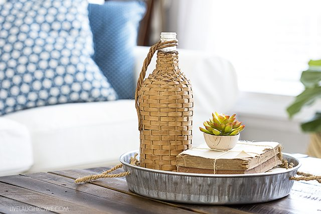 simple diy galvanized try styled in living room