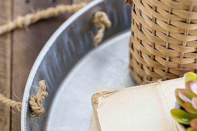 rope handles on diy galvanized tray