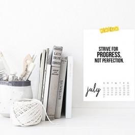 "Printable July 2016 Calendar with inspirational, ""Strive for Progress, not Perfection."" livelaughrowe.com"