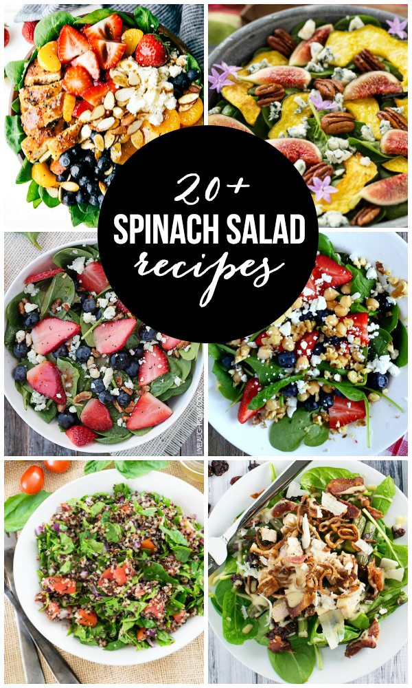 Over 20 delicious Spinach Salad Recipes for those hot summer nights (when you don't want to turn the oven on). livelaughrowe.com
