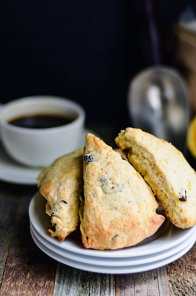 Paired with coffee or tea, these Orange Cranberry Scones are perfect for breakfast or an afternoon snack. livelaughrowe.com