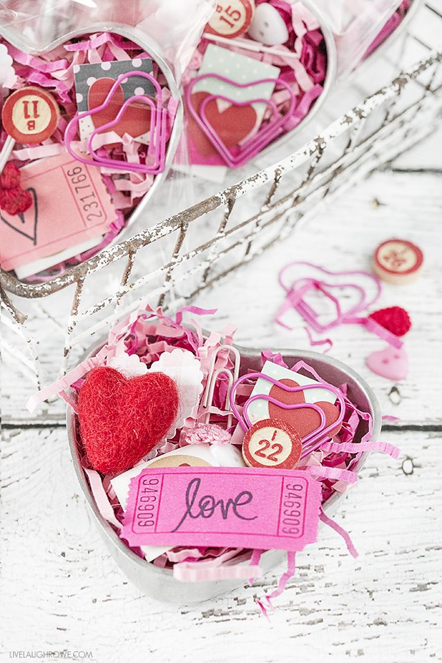 A sweet Vintage Heart Tin used to create a Valentine's Day gift using epherma and other fun, festive pieces. livelaughrowe.com