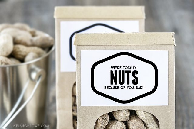 """Fun """"Nuts About You"""" printables -- lots of options too! Find one for Father's Day, Valentine's Day or just because. Go NUTS! livelaughrowe.com"""