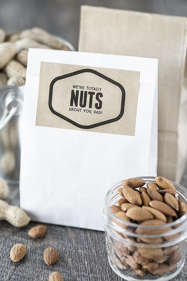 Fun 'Nuts About You' printables -- lots of options too! Find one for Father's Day, Valentine's Day or just because. Go NUTS! livelaughrowe.com