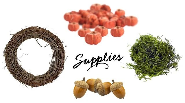 Supplies for a beautiful simple autumn wreath. Find out more at livelaughrowe.com
