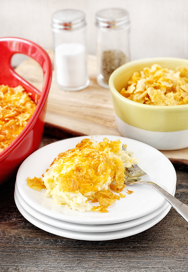 Amazing Hash Brown Casserole! Pair with scrambled eggs and breakfast or brunch is served. Recipe at livelaughrowe.com