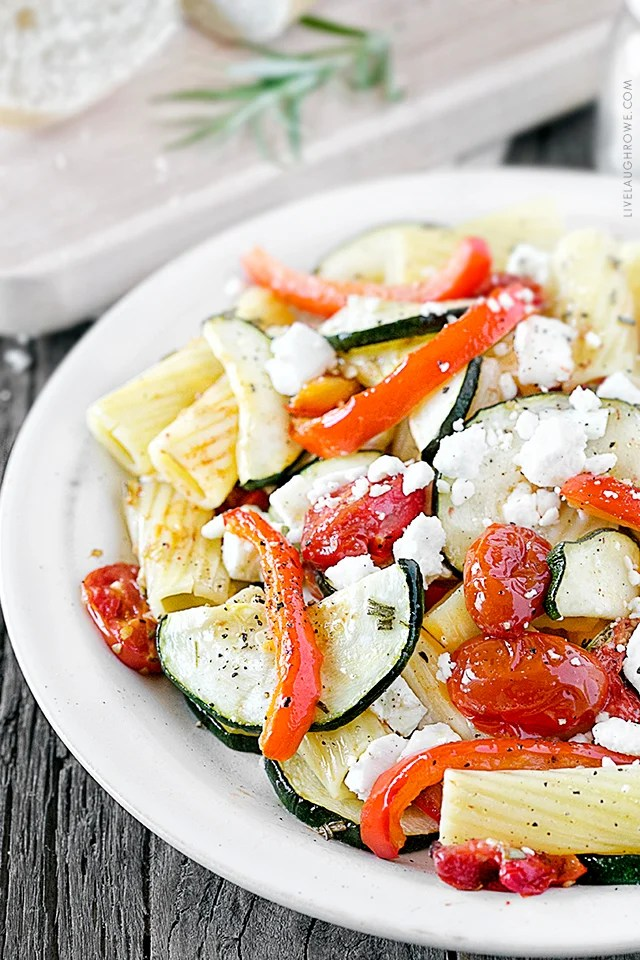 This meatless dish is simple, but has a distinctive sharp and tangy flavor from the rosemary and feta cheese. With less guilt and more flavor, this Weight Watchers recipe is sure to be a new favorite. Recipe at livelaughrowe.com