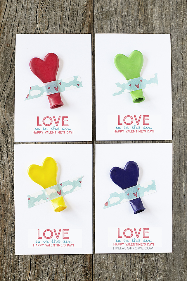 """ADORABLE """"Love is in the air"""" printable balloon valentines -- great for class parties and more! Print yours at livelaughrowe.com"""