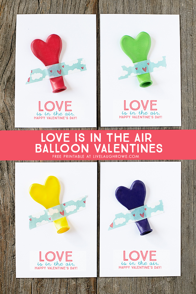 """ADORABLE """"Love is in the air"""" printable balloon valentines -- great for class parties and more! Free printable at livelaughrowe.com"""