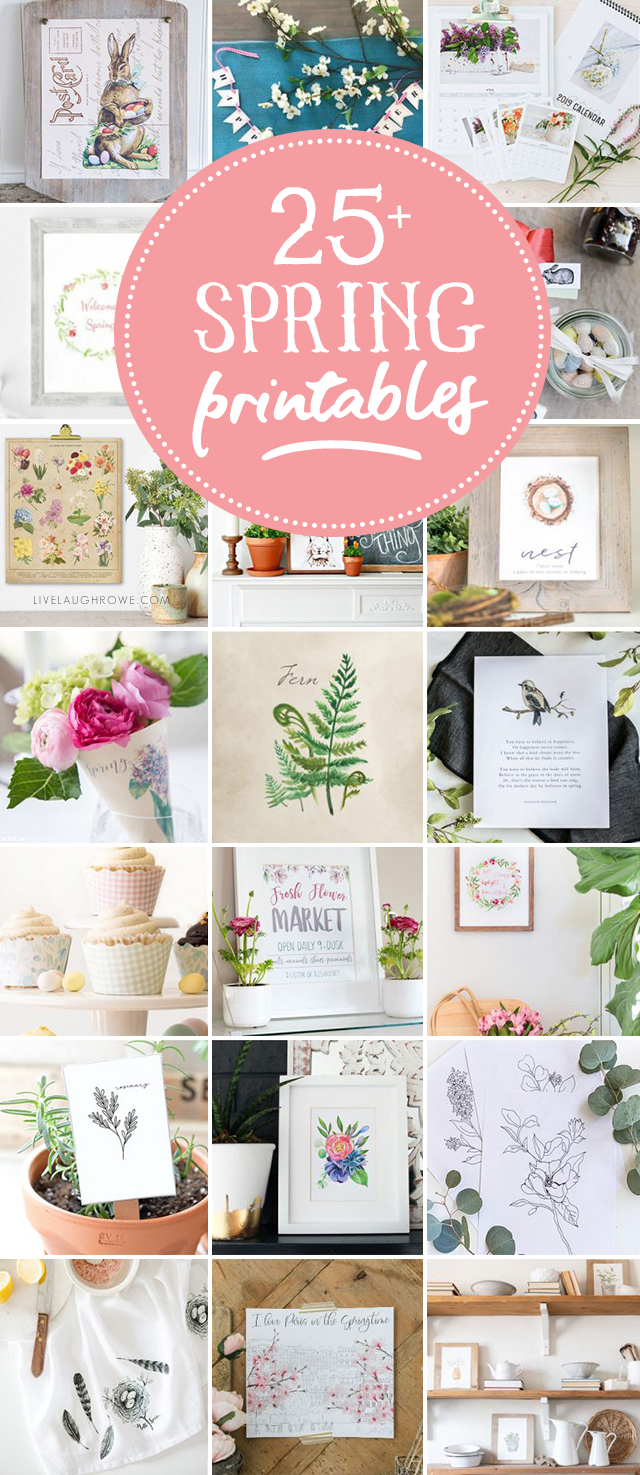 25+ FREE Spring Printables -- so many to choose from! Vintage inspired, cupcake wrappers and MORE! livelaughrowe.com