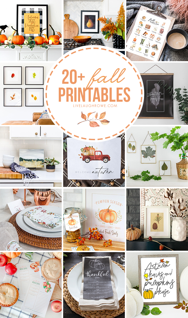 Over twenty fabulous and versatile Fall Printables for you to peruse and enjoy! What are you waiting for? livelaughrowe.com