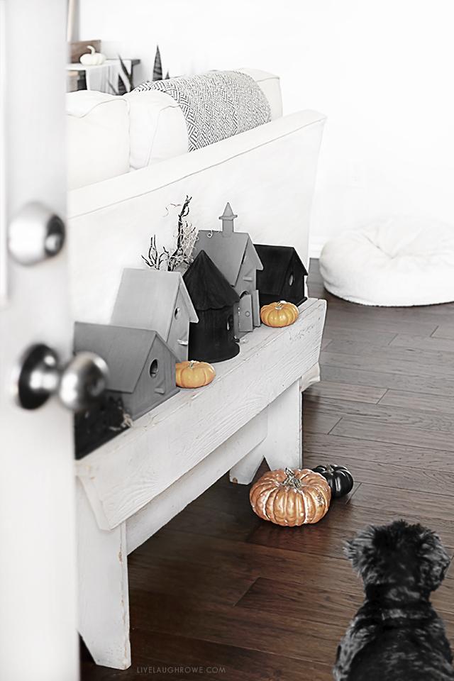 Side Shot of Halloween Birdhouse Vignette