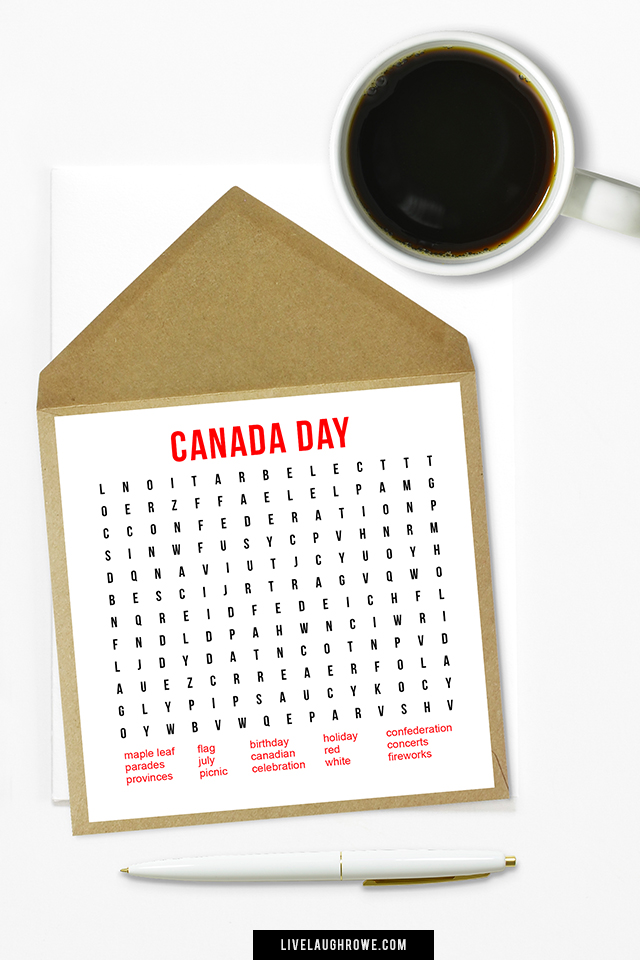 Printable July 1st Word Search