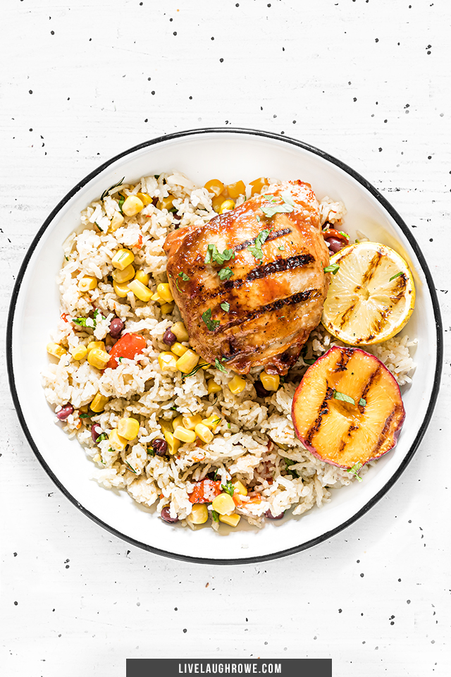 Dinner Plate with Grilled Chicken Thigh and Rice Dish