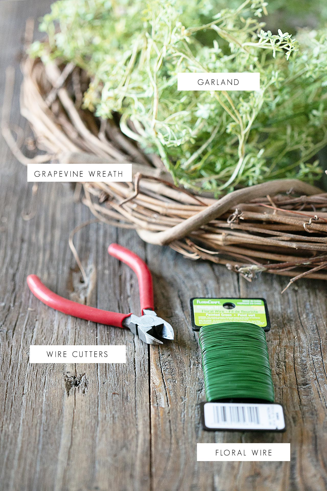 Supplies for Garland Wreath