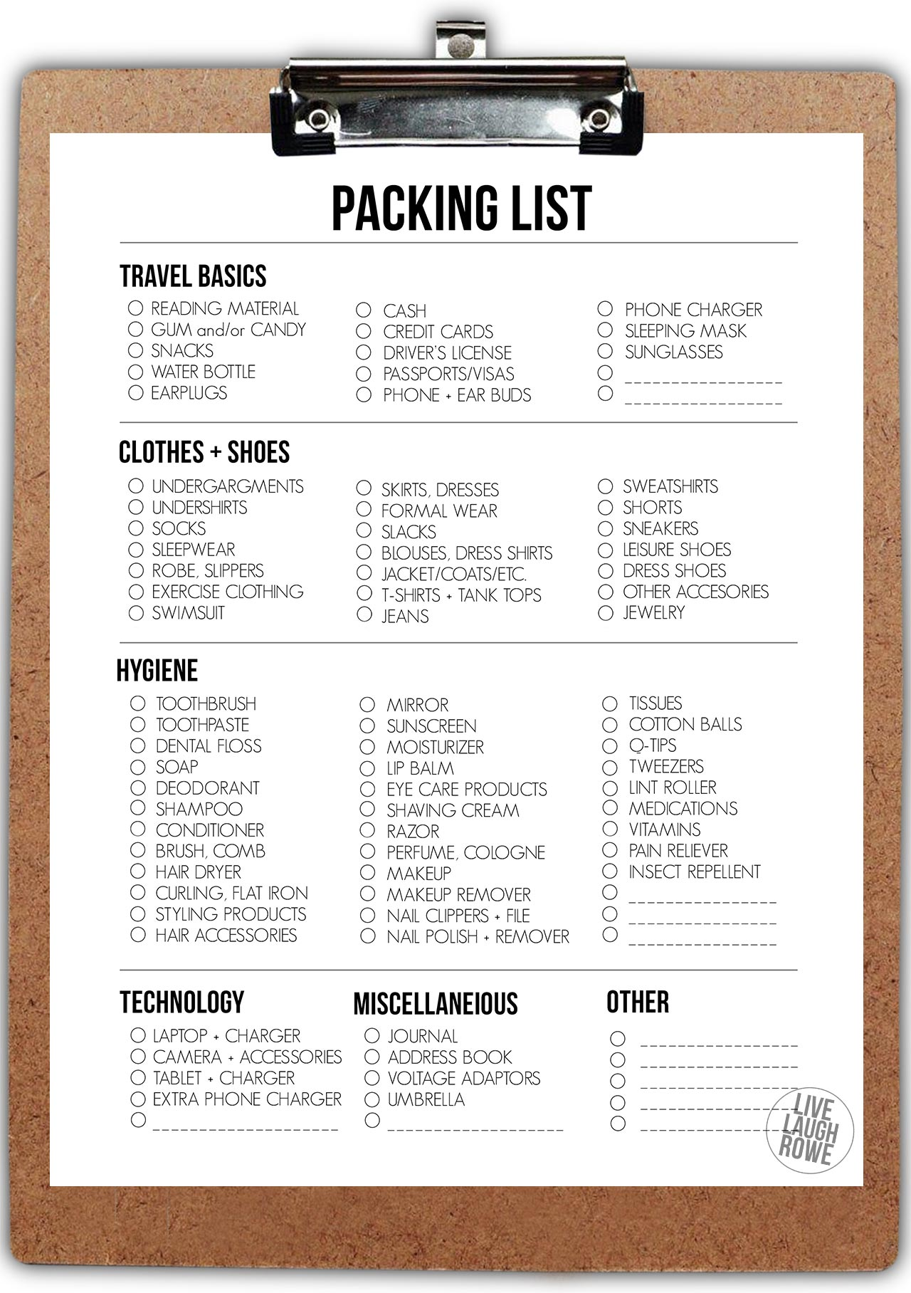 Packing List on Clipboard