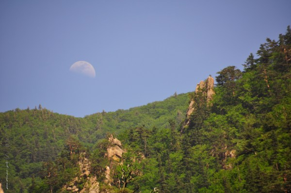 Moon rising over Seoraksan ridgeline