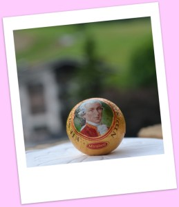 Foil wrapped balls with Mozart's face