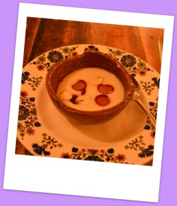 Cocoa bean soup with almond milk