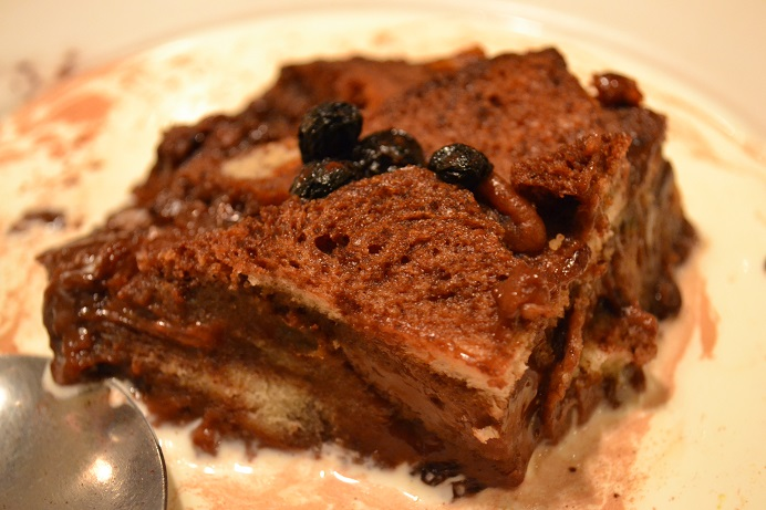 chocolate & nut bread & butter pudding