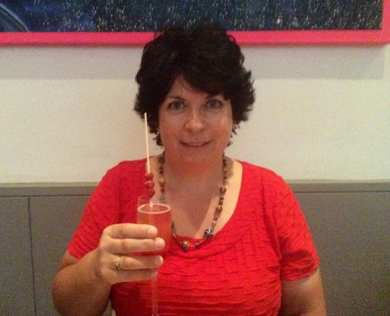 Yours truly enjoying the bellini