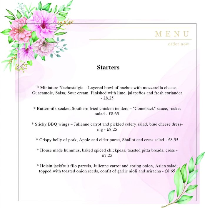 The Monarch Menu