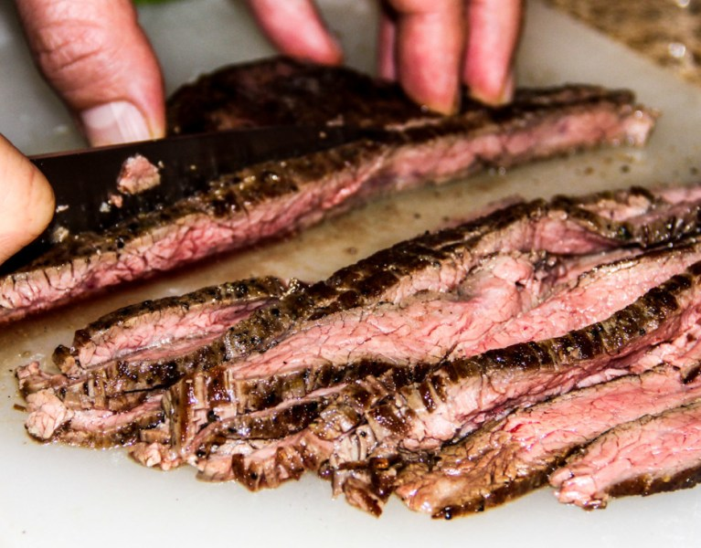 Flank steak-slice against the grain.