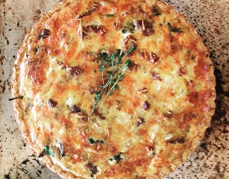 Sausage, cheddar and spinach quiche recipe