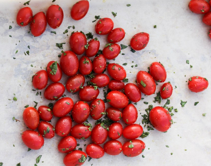 Oven roasted tomatoes for grilled tomato caprese sandwich