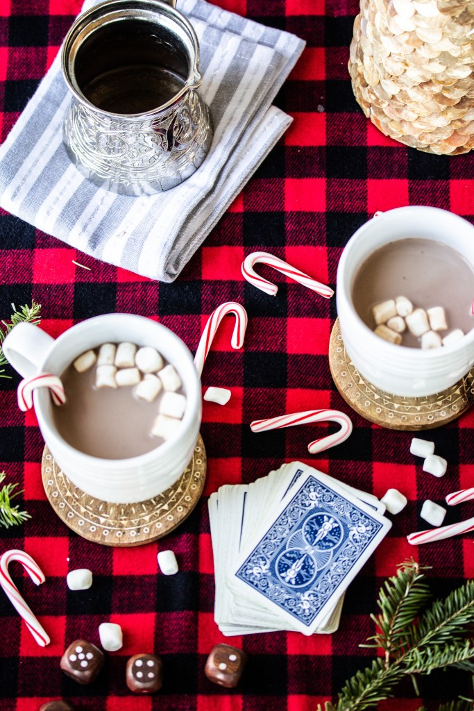Hot chocolate in mug with candy canes