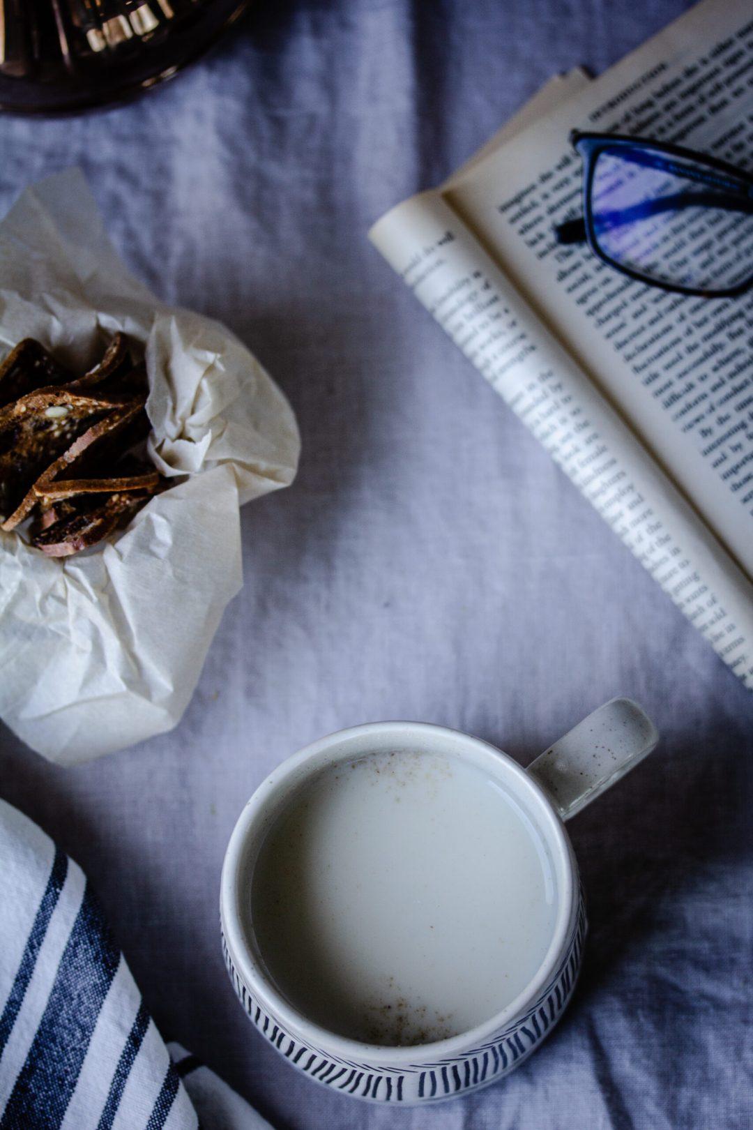 Matcha Chai Latte with book