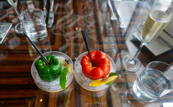 Bloody Mary's served in bell peppers at Ozone's brunch - Hong Kong