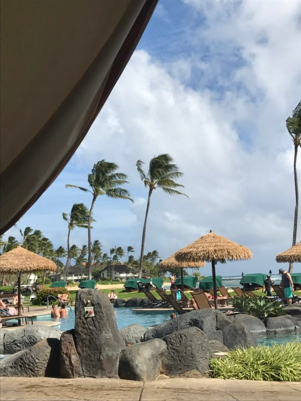 The view from our cabana at the Sheraton Kauai Resort