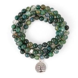 Moss Agate 108 Bead Bracelet