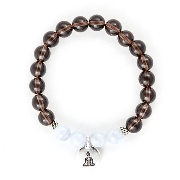 Smoky Quartz Blue Lace Agate Bracelet