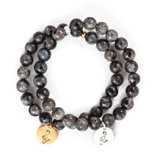 Black Moonstone Charm Bracelet
