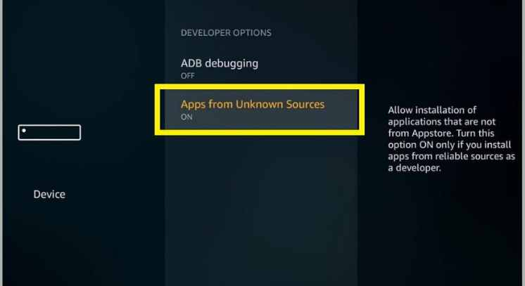 enabling apps from unknown sources to install Stremio APK on firestick