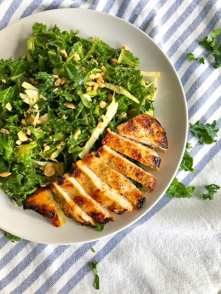 Asian Kale Salad (inspired by Hillstone's kale and rotisserie chicken salad)