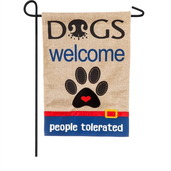Dogs Welcome People Tolerated Garden Burlap Flag