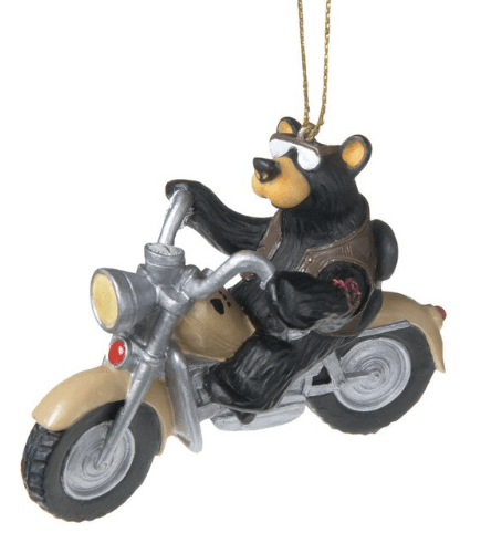 bear on motorcycle ornament