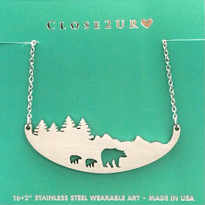 3 bears in woods necklace