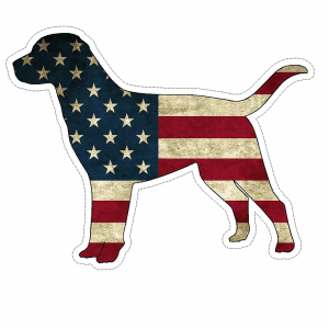American Flag Dog decal