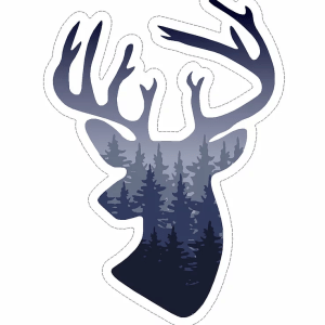 Deer head with woods decal