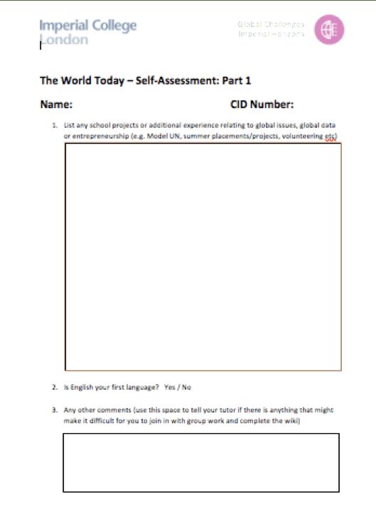 Learning Pre-Assessment
