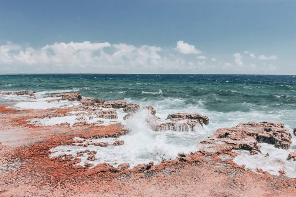 Rock formations on the eastern coast of Bonaire where swimming is not safe. Find the best beaches in Bonaire for swimming, windsurfing, and snorkeling here.